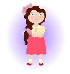 Cartoon girl with comb Virgo zodiac sign vector image