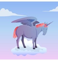 Cartoon magic unicorn pegasus vector