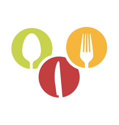 Colorful circular frames with silhouettes cutlery vector