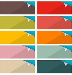Colorful Empty Stickers Set with Bent Corner vector image vector image