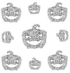 Doodle pumpkins ornament art vector