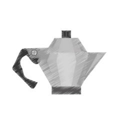 drawing steel kettle coffee tea cookware vector image
