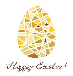 Easter decorative element Yellow mosaic egg with vector image