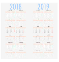 english calendar for years 2017 and 2018 week vector image vector image