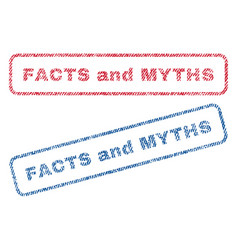 Facts and myths textile stamps vector
