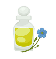 Flax or linseed oil in bottle flat vector