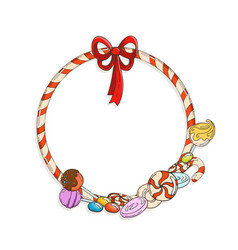 Frame of candy cane with candies and lollypops vector