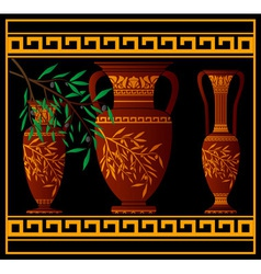 greek red amphoras and jug vector image vector image