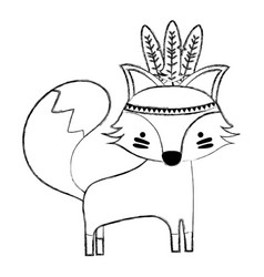 Grunge cute fox animal with feathers design vector