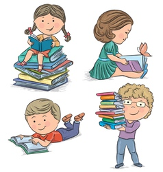 Kids reading books vector image vector image