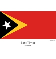 National flag of East Timor with correct vector image