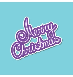 Purple text merry christmas on green background vector