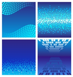 Set of dark blue technology background vector image