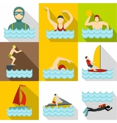 Swimming on water icons set flat style vector