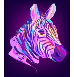 The cute colored zebra head vector