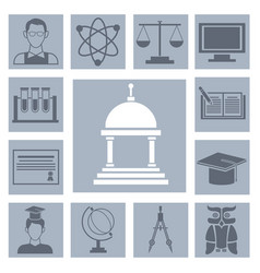 university icons set vector image