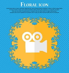 video camera Floral flat design on a blue abstract vector image vector image
