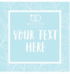 Wedding invitation white frame retro blue backgrou vector