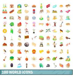 100 world icons set cartoon style vector