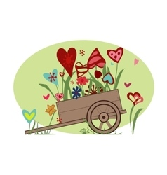 Floral arrangement from hearts in the cart vector