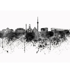 Stuttgart skyline in black watercolor on white vector