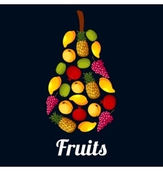 Fruits arranged in a pear shaped symbol vector