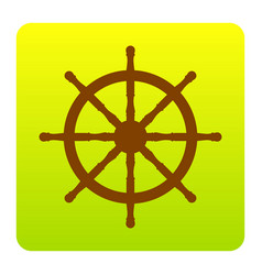 Ship wheel sign  brown icon at green vector