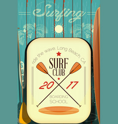 Retro surfing poster vector