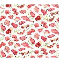 Natural cutting pork parts seamless pattern vector