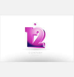 number 12 twelve black white pink logo icon design vector image