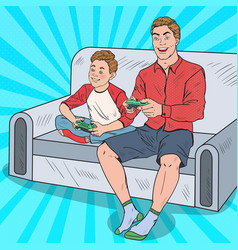 Pop art dad and son playing video game vector