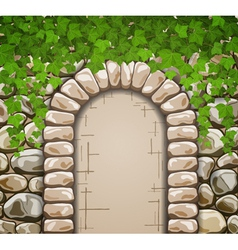 Stone wall with arch and leaves vector