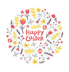Easter floral wreath vector