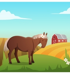 Cute horse with landscape in background vector image