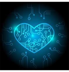 Blue circuit heart background vector