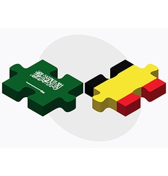 Saudi arabia and belgium flags vector