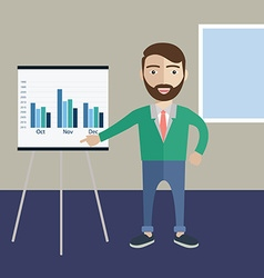 Flat design concept of businessman presenting his vector