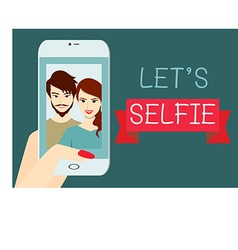 Lets selfie flat design vector