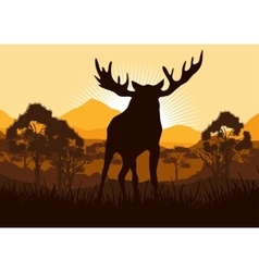 Elk in wild nature landscape vector image