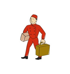 Bellboy bellhop carry luggage cartoon vector