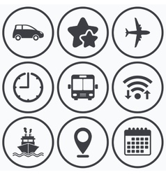 Transport icons car airplane bus and ship vector
