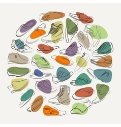 Elegant collage of mens shoes and boots on a vector