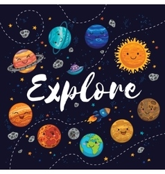 Explore fantastic childish background in bright vector