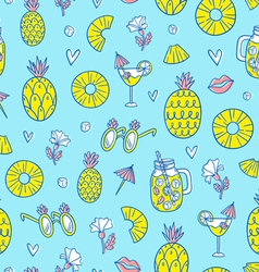 Pineapple mood pattern on blue background vector