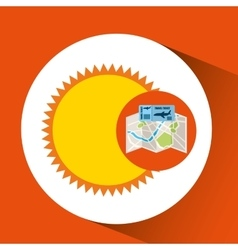 Airline ticket map travel sun summer vector