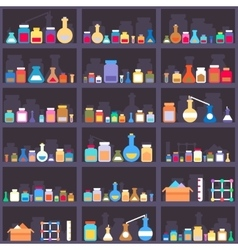 Alchemical elixirs or chemicals and medications on vector