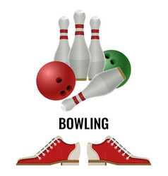 Bowling club logo design of equipment for play and vector
