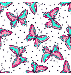 Bright butterflies seamless pattern hand drawn vector