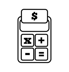 Calculator finance money office line vector