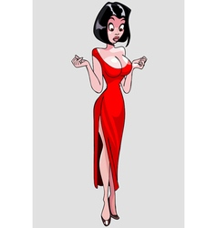 cartoon elegant beautiful woman looking surprised vector image vector image